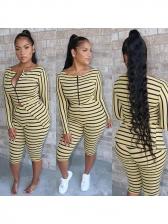 Striped Zipper Up Mid Calf Trouser Co Ord