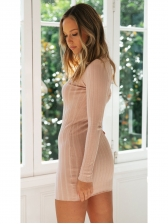 Mock Neck Striped Elastic Long Sleeve Dress Casual