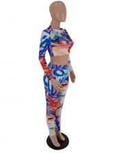 Mixed Color Letter Printed Crop Two Piece Outfits