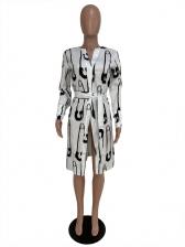 Printed Slim Waist Long Sleeve Blouse