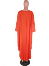 High Low Design Bat Sleeve Orange Long T Shirt