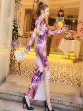 Fashion Printed Slit Maxi Dresses For Women