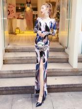 Slim Fit Printed Slit Long Sleeve Maxi Dress