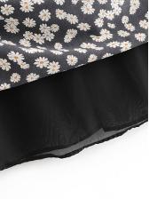 Vintage Chrysanthemum Printed A Line Midi Skirt