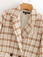 Sweat Plaid Long Blazer Coat