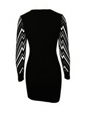 Contrast Color Geometric Printed Long Sleeve Sweater Dress