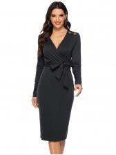 V Neck Solid Long Sleeve Ladies Dress