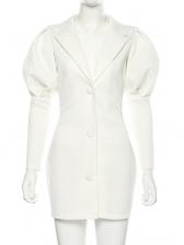 Lapel Collar Lantern Sleeve White Dress
