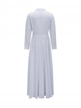 Leisure Solid Pockets Shirt White Maxi Dress