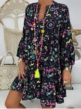 Loose Plus Size Long Sleeve Floral Dress