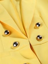 Buttom Decoration Straight Yellow Long Blazer Coat