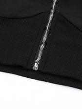 Solid Long Sleeve Cropped Zip Up Hoodies