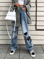 Casual Straight Ripped Jeans For Women