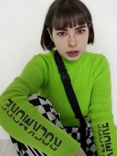 High Neck Letter Knitting Long Sleeve T Shirt
