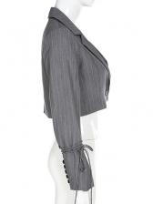 Striped Long Sleeve Cropped Ladies Blazer