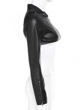 Fashion Long Sleeve Cropped Leather Jacket