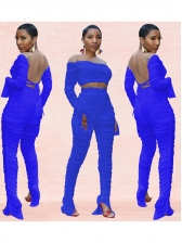 Backless Long Sleeve Gauze Perspective 2 Piece Set