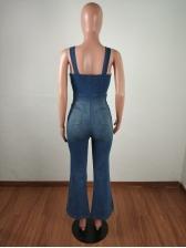 Fashion Fitted Sleeveless Denim Jumpsuit