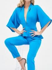 Solid V Neck Half Sleeve Jumpsuits For Women
