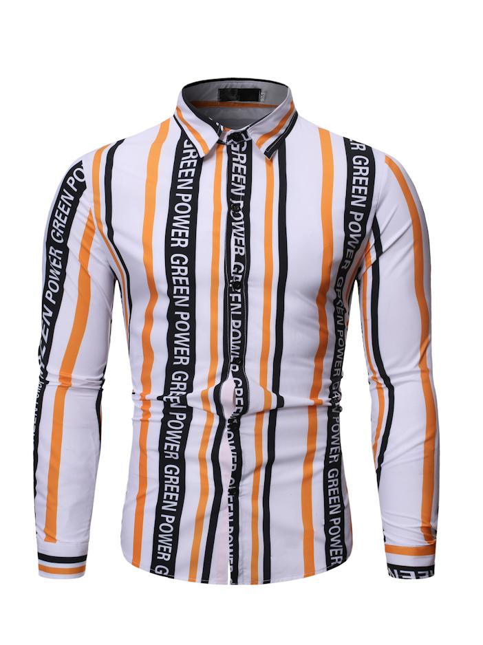 Cute Letter Long Sleeve Striped Shirt