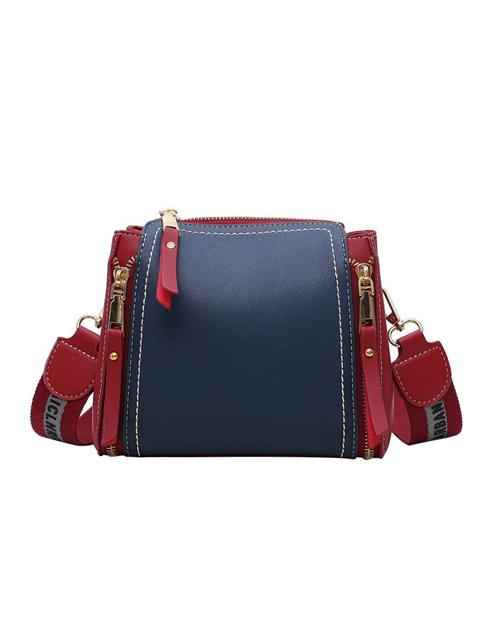 Multiple Zipper Contrast Color Women Shoulder Bag