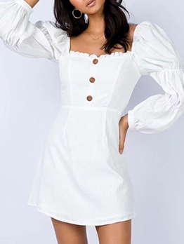 Square Neck Button Decor White Dress