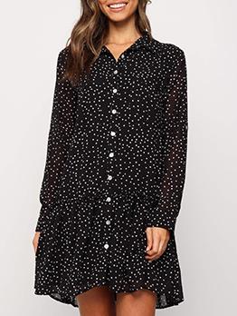 Polka Dots Single-Breasted Casual Dresses