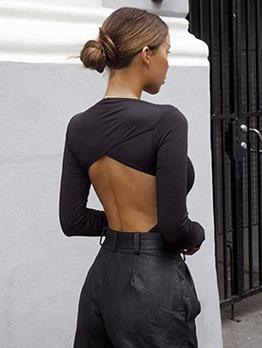 Crew Neck Hollow Out Long Sleeve Black Bodysuit