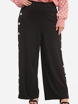 Plus Size Side Button Wide Leg Pants In Black
