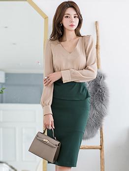 Korean Style V Neck Colorblock Long Sleeve Dress