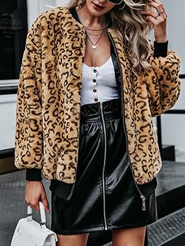 Leopard Print Long Sleeve Faux Fur Coat