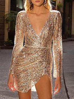 Fashion Glitter Slit Long Sleeve Sequin Dress