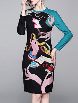 Crew Neck Printed Womens Long Sleeve Dress