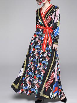 Fashion Vintage Printed Tie Wrap Maxi Dress