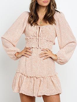 Sweat Floral Ruffled Long Sleeve Mini Dress