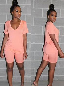 V Neck Casual Short Sleeve Summer Co Ords