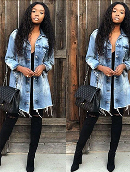 Fashion Washed Denim Long Coat