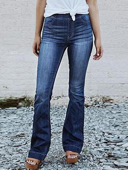 Gradient Color Flare Bottom Long Jeans