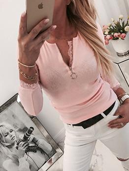 Lace Broder Slim Waist Zipper Long Sleeve Shirts
