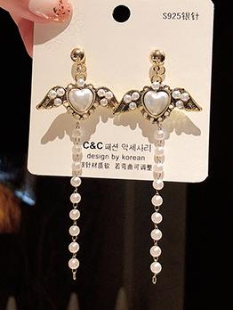 Chic Wing Long Pearl Earrings