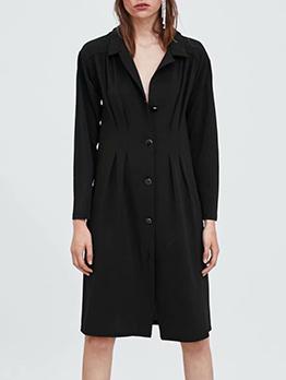 Lapel Collar Single-Breasted Black Long Sleeve Dress