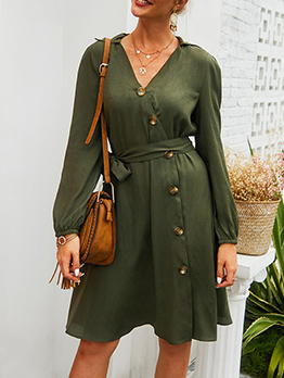 Casual Single-Breasted Long Sleeve Dress In Green