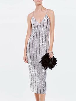 V Neck Striped Sequin Sleeveless Summer Dresses