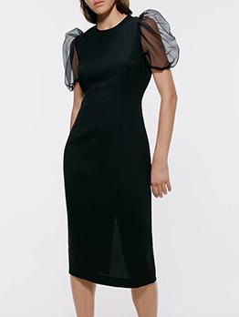 Crew Neck Puff Sleeve Black Straight Dress