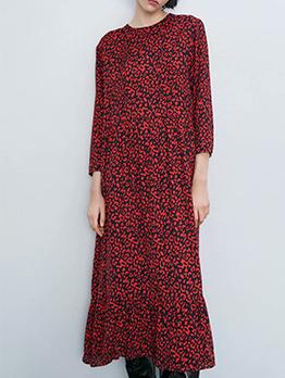 Fashion Leopard Printed Long Sleeve Midi Dress