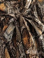 Fashion Snakeskin Printed Bow Tie Long Sleeve Dress