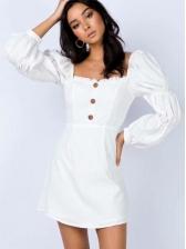 Square Neck Button Decor White Dress