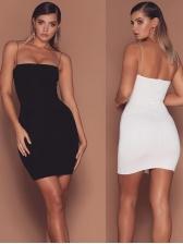 Sexy Solid Slip Low Cut Bodycon Dress