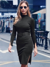 Euro Solid Slit Long Sleeve Bodycon Dress