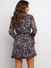 Stylish Slim Printed Flare Long Sleeve Dress